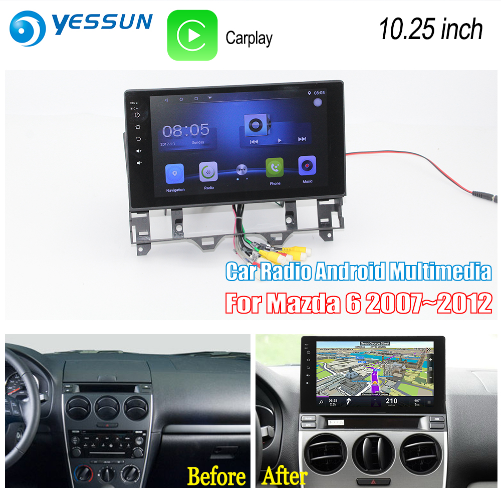 YESSUN 10.25' For <font><b>Mazda</b></font> <font><b>6</b></font> 2007~2012 Car <font><b>Android</b></font> Carplay GPS Navi maps Navigation Player <font><b>Radio</b></font> Stereo BT HD Screen no CD DVD image