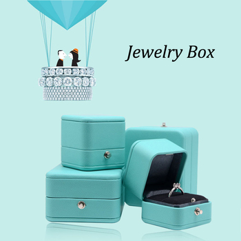 Luxury Romantic Blue Leather Jewelry Gift Box Ring Box Necklace Box Ring Packaging Storage Ring Organizer for Wedding Propose large leather gift box for jewellery wedding party decoration display velvet organizer earing necklace ring packaging pink box