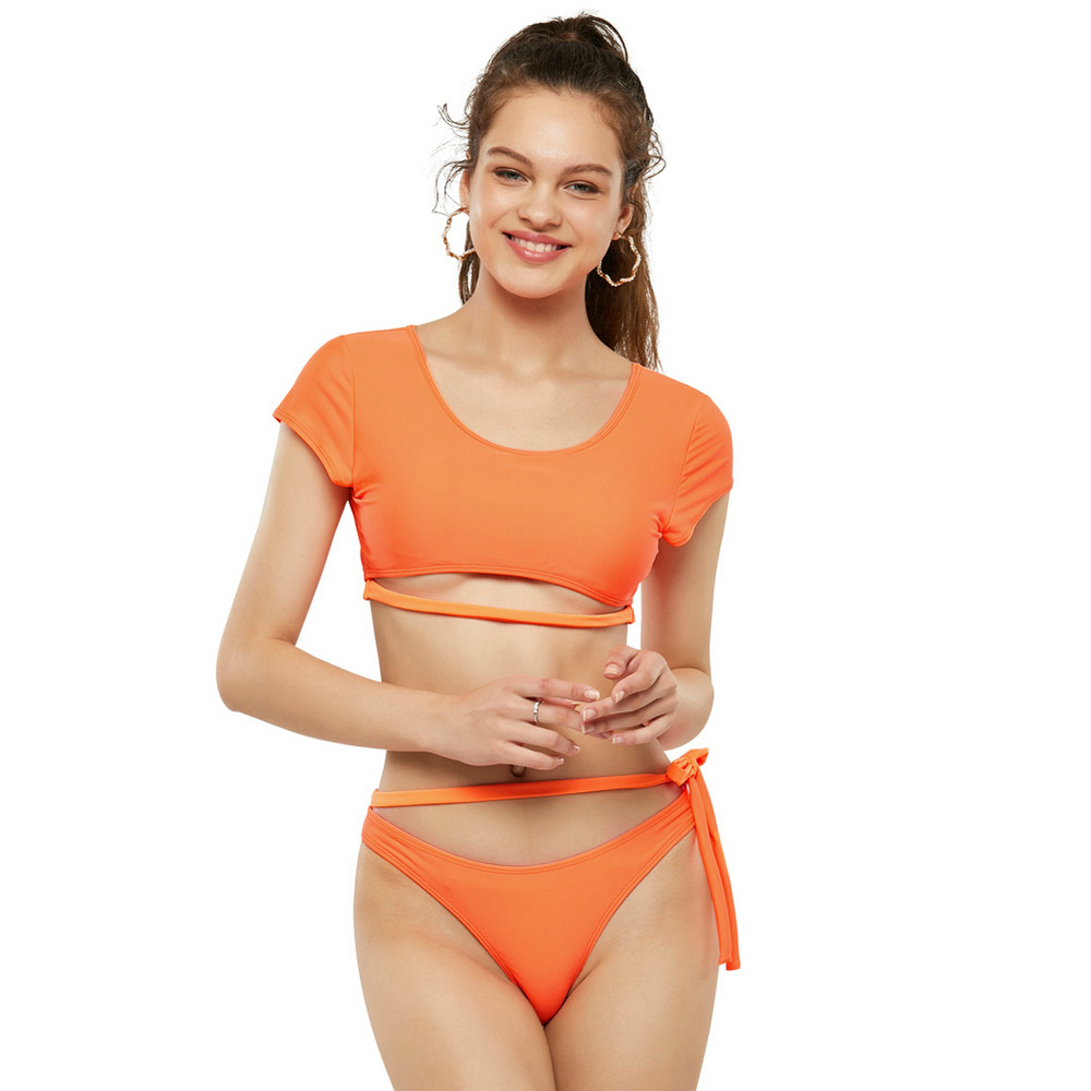 LaFata Women Thong Bikini Swimsuit High Waist Rash Guard Two Piece Sporty Bathing Suit neon orange image