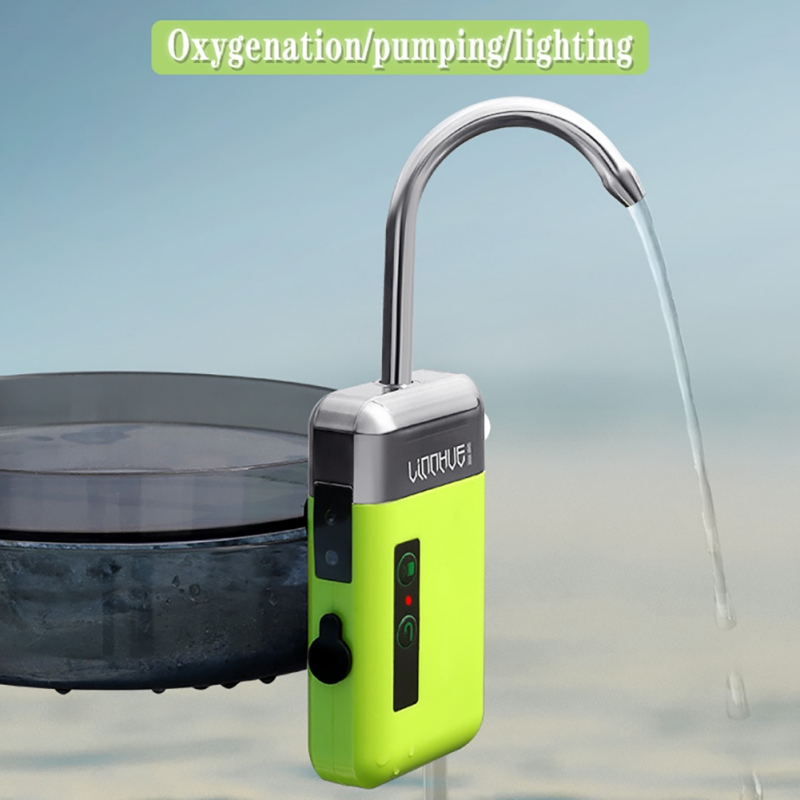 Portable Outdoor Fishing Oxygen Pump Water Absorber Accessories Three-in-One Smart Durable Automatic Induction LED Lighting