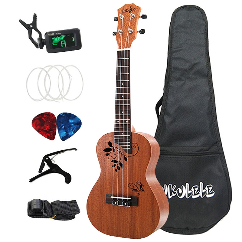 Concert Ukulele Kits 23 Inch Sapele 4 Strings Hawaiian Mini Guitar With Bag Tuner Capo Strap Stings Picks Musical Instrument