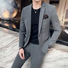 Męski dorywczo brytyjski stylowy kombinezon garnitur trend nowy biznes krata mały garnitur dwuczęściowy garnitur męski koreański wersja Slim tanie tanio COTTON Poliester REGULAR Mieszkanie Luźne Zipper fly Pojedyncze piersi Garnitury Smart Casual