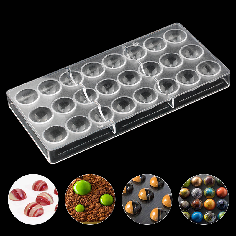 24 Half Ball Clear Diamond Chocolate Mould DIY Baking Polycarbonate PC Chocolate Maker Mousse Candy Mold Baking Pastry Tool image