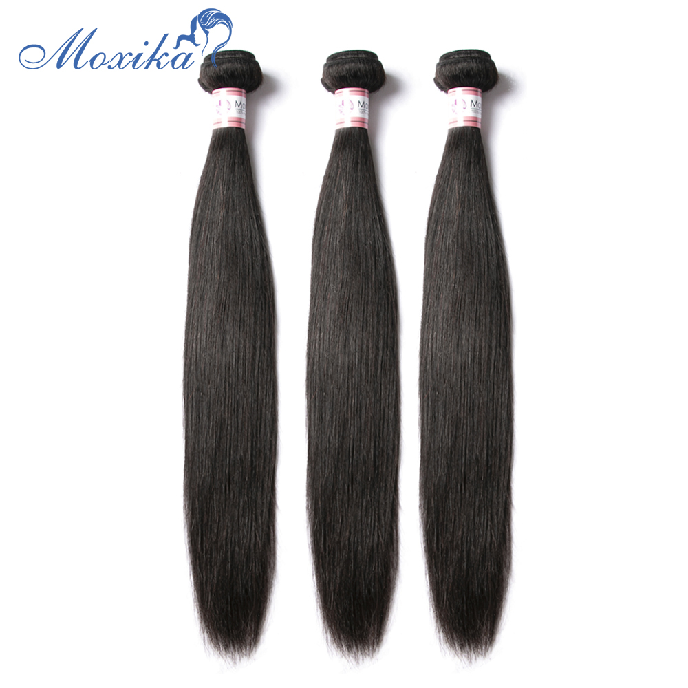 Moxika Brazilian Straight Hair 4 Bundles Natural Black Remy Human Hair Weaves Extensions Can Be Colored 8-28inch