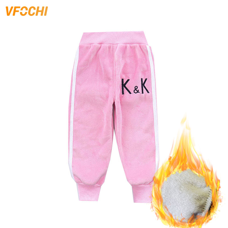 VFOCHI Boy Girls Pencil Pants Autumn Velvet Pants Stretch Waist Kids Pants Warm Children Trousers Baby Girls Boy Sports Pants 1