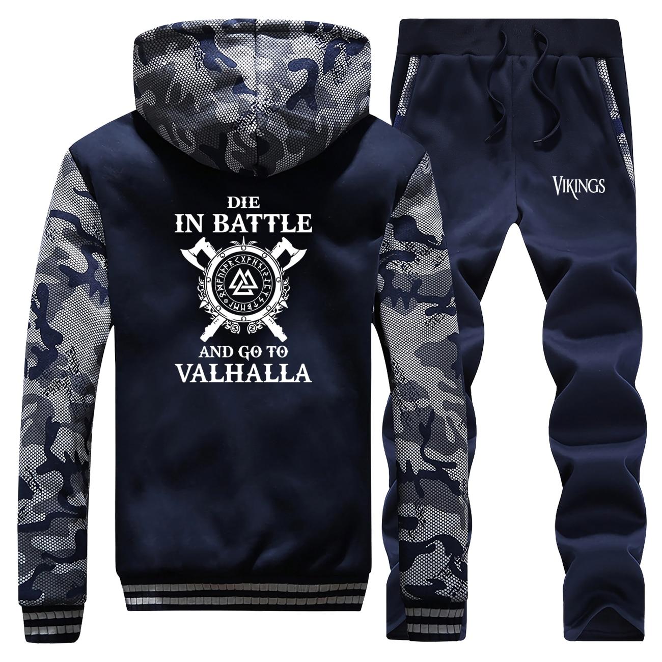 Vikings Winter Hot Sale Vintage Print Mens Hoodies Camouflage Coat Thick Suit Jackets Sportswear Long Sleeve+Pants 2 Piece Set