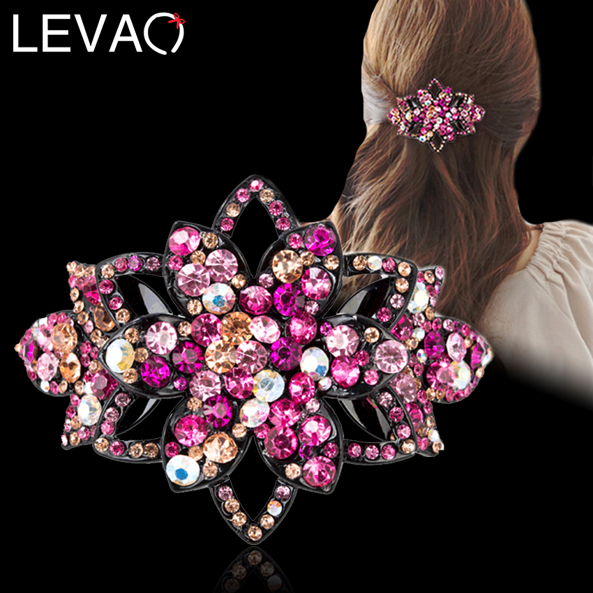 Leavo 2020 Hollow Rhinestone Flower Hairpin Spring Clips New Shiny Crystal Bow Hair Clip Barrettes for Women Hair Accessories