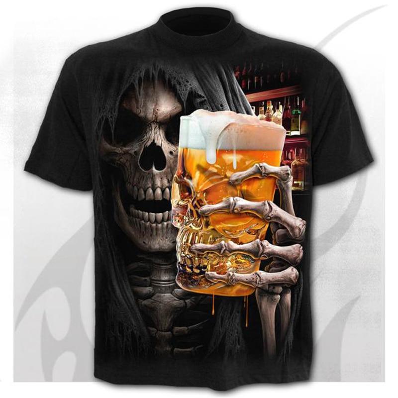 Scary Skull Men's T-Shirts Men's Punk 3D Shirts Summer Fashion Tops O-neck t-shirt boys clothing large size streetwear
