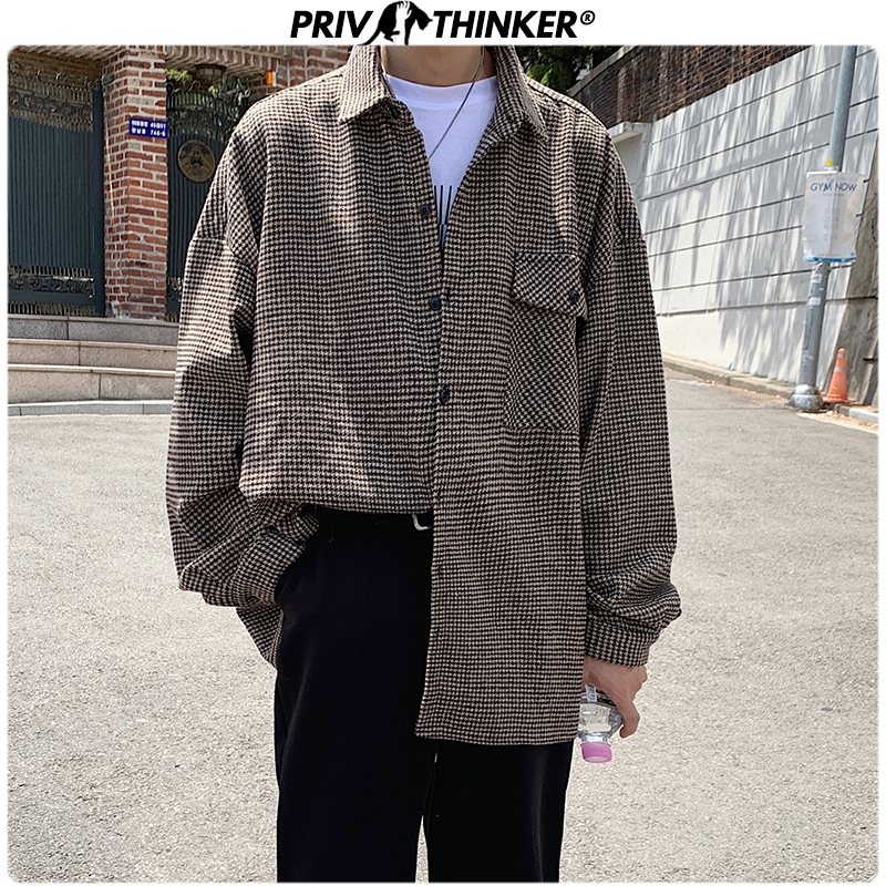 Privathinker Men's Plaid Streetwear Korean Casual Shirts Men Office Blouses Autumn Shirt 2019 Male Long Sleeve Fashion Clothes