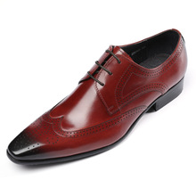 QYFCIOUFU Hot Sale Brand Genuine Leather Business Men Dress Shoes Retro Formal Brogue Shoes Pointed Toe Oxford Shoes For Men