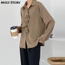 Imitation Silk Shirts Satin Blouse Office Women Ruffle Shirt Ladies Tops Work Wear