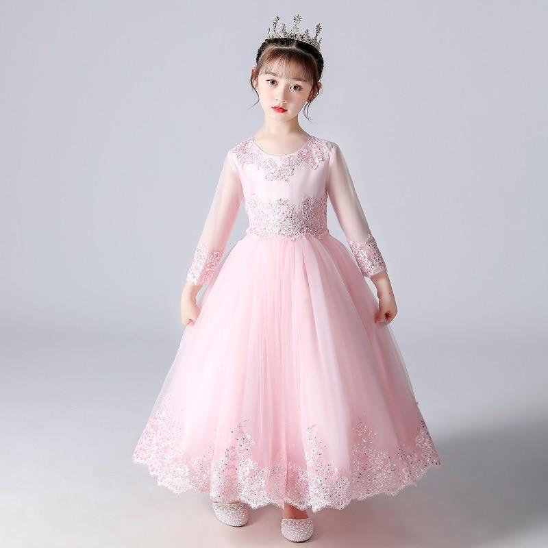 Kids Dresses For Girls Wedding Party Frock Flower Gown Princess Evening Summer Children's Mesh Sleeve Dress