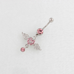 Piercing Belly navel ring Pink Wing Heart dangle fashion body jewelery navel bar Accessories 14G Surgical Steel nickel-free