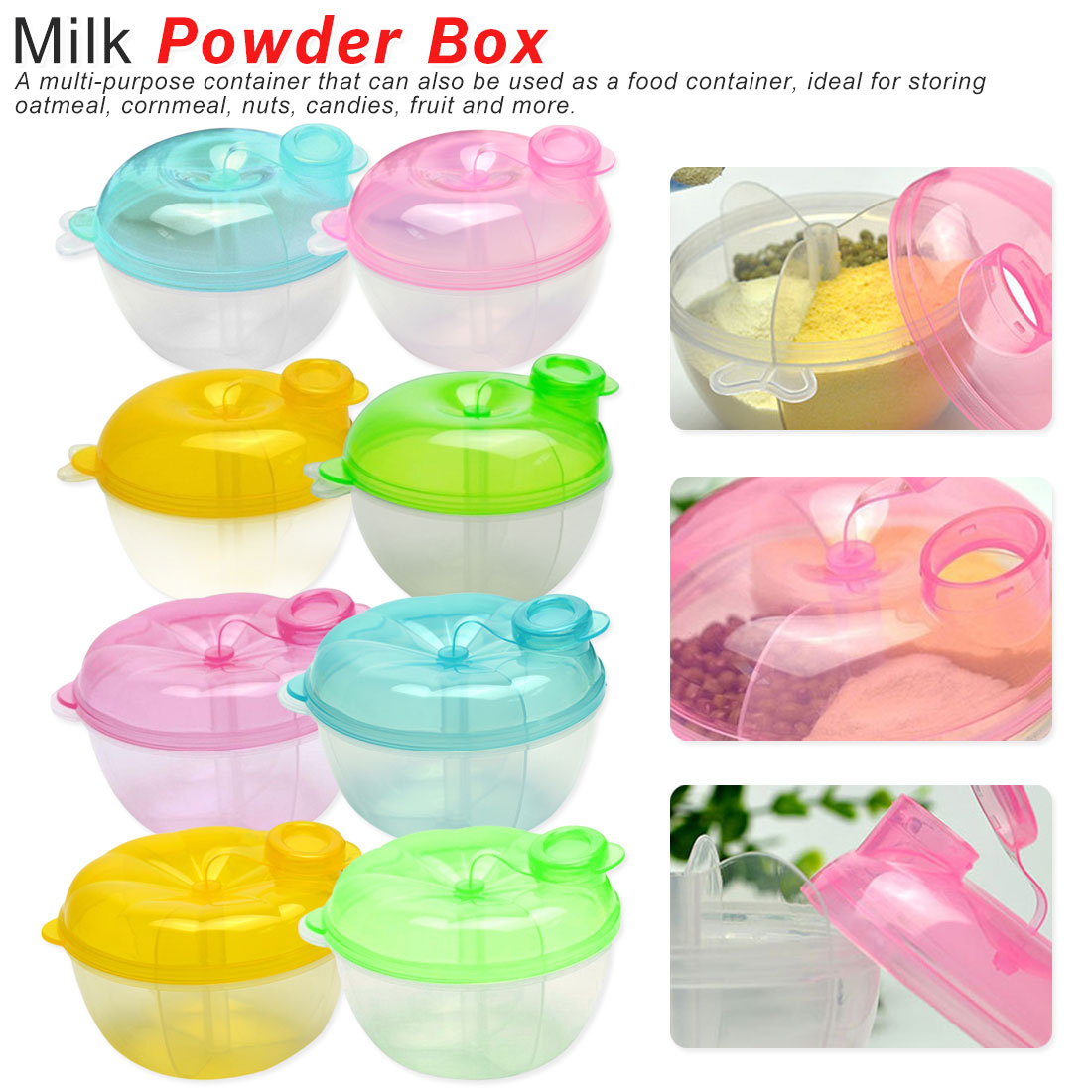 3 Layer Baby Milk Powder Formula Dispenser Food Container Storage Feeding Box