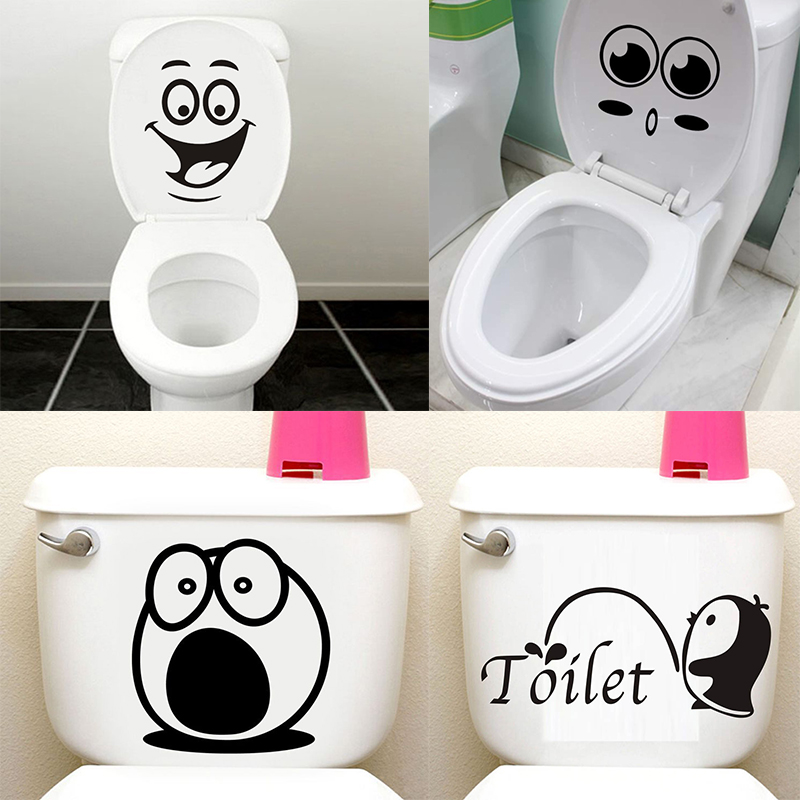 Bathroom Wall Stickers Room Decoration Removable Toilet Sticker Wall Decals Smile Face WC Stickers Home Decor Art Mural Stickers(China)