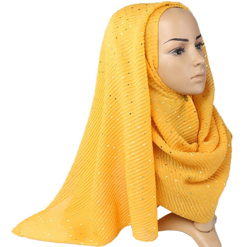 Winter Beautiful Muslim Hijabs Wrinkled Headscarf Wraps Got Glitter Dot Turban Pleated Cotton Women Scarf Long Shawl 200x90cm