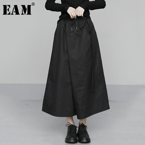 [EAM] High Elastic Waist Black Brief Long Wide Leg Trousers New Loose Fit Pants Women Fashion Tide Spring Summer 2020 1U305