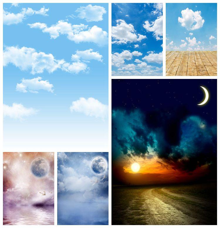 Фон для фотосъемки новорожденных с изображением неба белого облака Луны ночи ребенка дня рождения деревянного пола