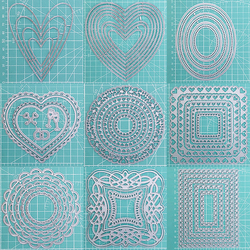 Love Square Round Lace Craft Metal Cutting Frame Templates Scrapbooking Embossing Paper Cards Photo Album Craft Stencils Dies