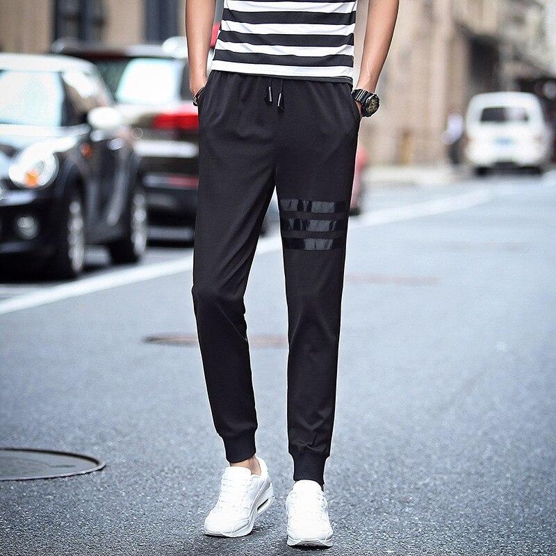 Casual Pants Elasticity Spring Thin Teenager Trousers Skinny Slim Fit Elastic Sweatpants Men's Beam Leg Athletic Pants