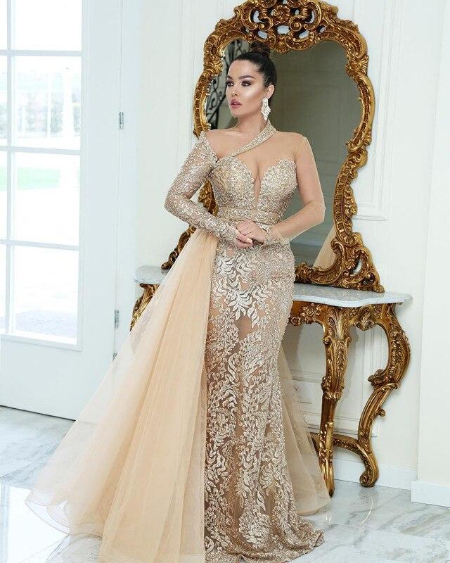 See Through Evening Dresses Mermaid Sweetheart Tulle Appliques Beaded Dubai Saudi Arabia Long Prom Dress Gown Robe De Soiree