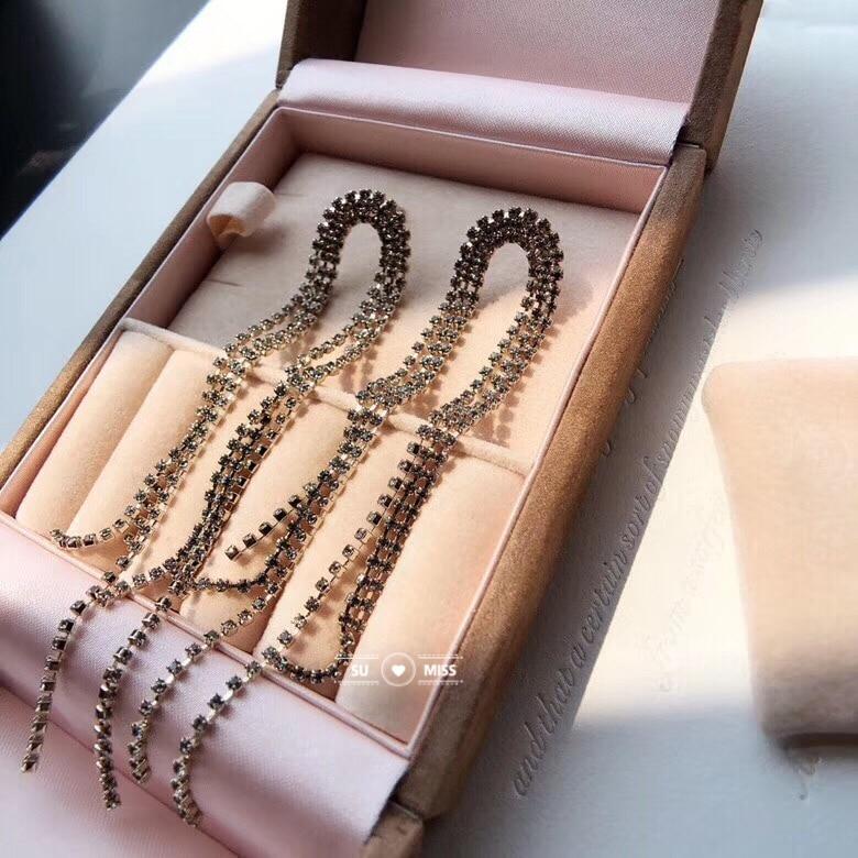 Design italien Super-longue strass gland boucles d'oreilles or argent chaîne boucles d'oreilles femmes fête cadeau meilleure vente cadeaux