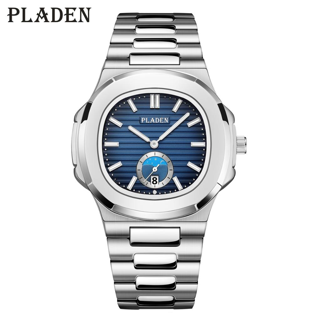 PLADEN Business Men Watch Luxury Fashion Dress Quartz Wristwatch Mens Stainless Steel Strap Gradient Blue Waterproof Guccy Watch