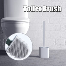 Silicone Wc Toilet Brush Wall Mounted Flat Head Flexible Soft Bristles Brush With Quick Drying Holder set for Bathroom Accessory(China)