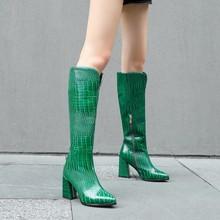 Kobiety szpiczasty nosek wzór krokodyla styl europejski jesienne buty zimowe 2021 kowbojskie zachodnie buty do kolan gruby wysoki obcas kobieta tanie tanio MAZIAO CN (pochodzenie) Podkolanówki zipper Stałe 0729-104 Plac heel Podstawowe Krótki pluszowe Zima Plush RUBBER Wysoka (5 cm-8 cm)