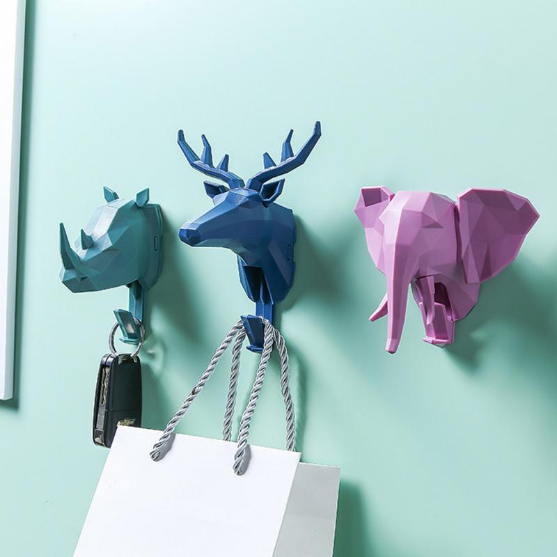 Stereoscopic Animal Deer Head Hooks Elephant Key Holder Wall Hook Strong Adhesive Punch-free Cap Coat Hook Minimalist Hangers