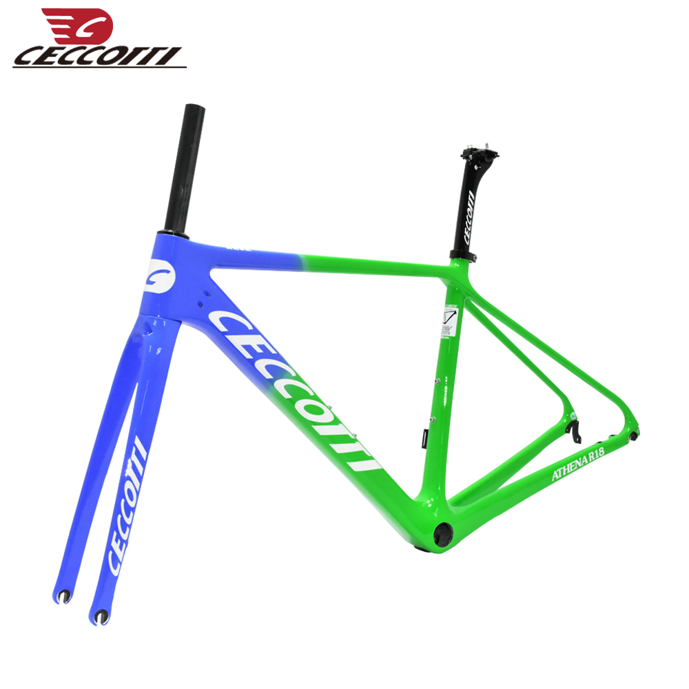 Blue Carbon Bicycle Frame Ceccotti Disc Brake Carbon Racing Bicycle Frame
