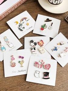 Набор милых Мультяшные броши для девочек, пальто, сумка со значком, кактус, собачки, единорога, фламинго, кроликов, эмалированные заколки, ак...
