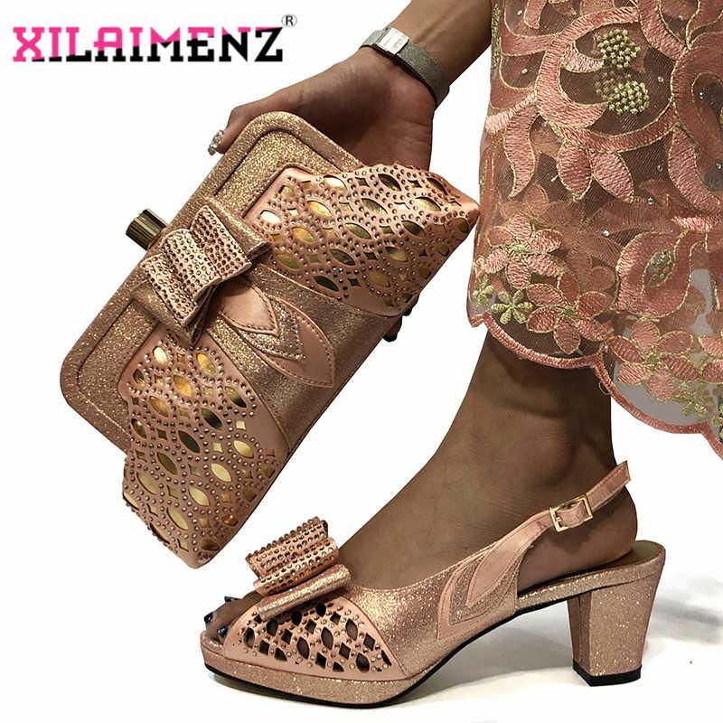 2020 Del Partito di Nuovo Disegno Della Pesca di Colore Africano Donne Scarpe e Borsa da Abbinare Italiana Matura Scarpe e Borsa di Corrispondenza di Stile set