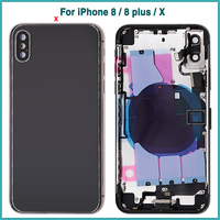 Full Housing Case For iphone 8 8G 8P 8 Plus X Battery Back Cover Door Rear Cover + Middle Frame Chassis With Flex Cable