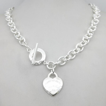 1: 1 sterling silver 925 classic silver heart card ladies necklace jewelry holiday gift