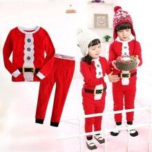 Baby Santa-Claus Outfits Pajamas-Set Pants Kids Long-Sleeve Girls Boys Children And Cotton