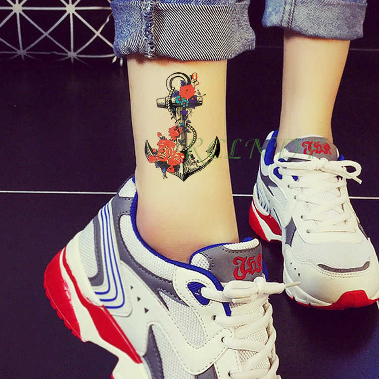 สติกเกอร์รอยสักชั่วคราวกันน้ำเรือAnchor Fake Tattoแฟชั่นแฟลชTATTOO Tatouageเท้าแขนแขนสำหรับสาวผู้หญิงผู้ชาย