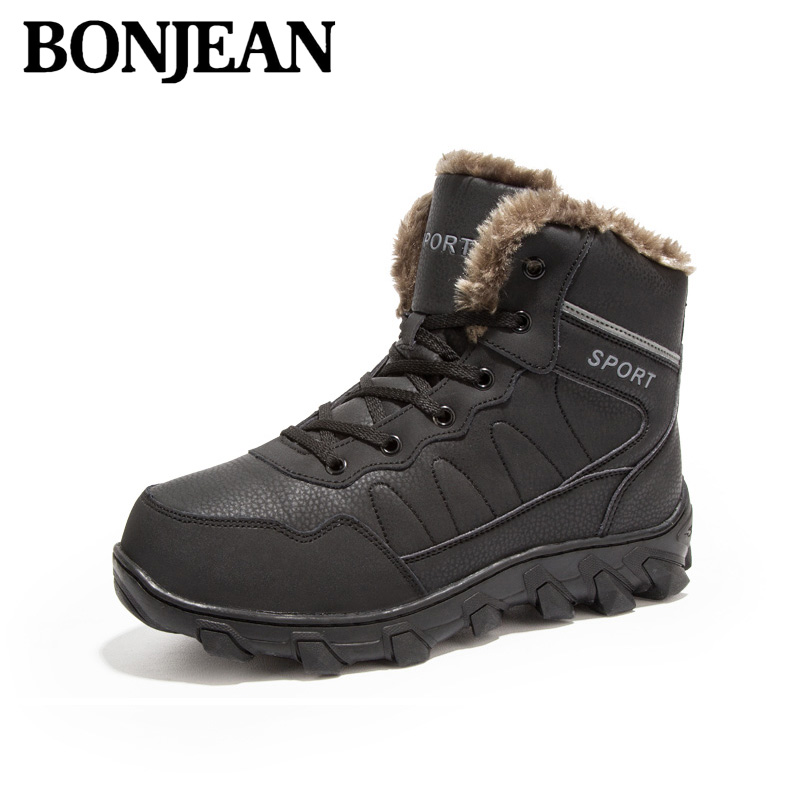 Brand Men Winter Work Shoes Military Fur Snow Boots Warm Genuine Leather Ankle For Hight Top