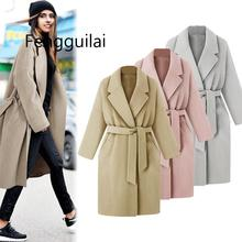 2019 FENGGUILAI  New Fashion Warm Winter Clothes Womens Lapel Wool Coat Yellow Trench Jacket Loose Lace Overcoat Outwear