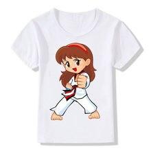 Crianças dos desenhos animados taekwondo impressão tshirt crianças meninas cozinhar topos criança t camisa bal631