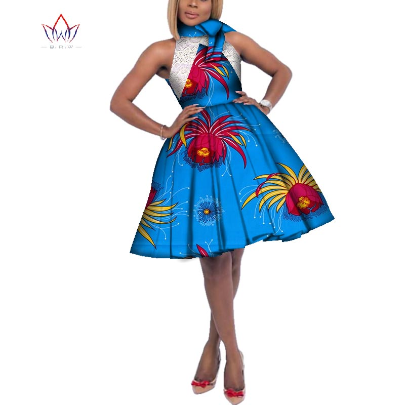 Fashion African Wax Print Dresses for Women Bazin Riche Women Stand Neck Bow Knot Lace Dress African Style Clothing WY3251