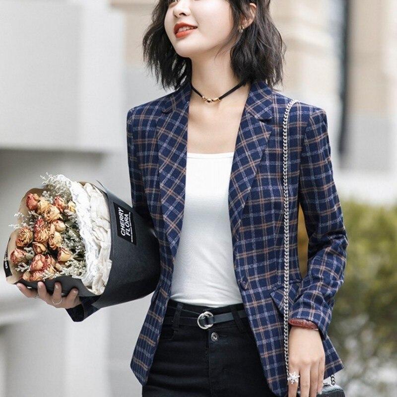 Office Ladies Slim Fit Plaid Woolen Blazer British Long Sleeve Business Work Women Korean Jacket Big Size 4XL Short Outwear Coat