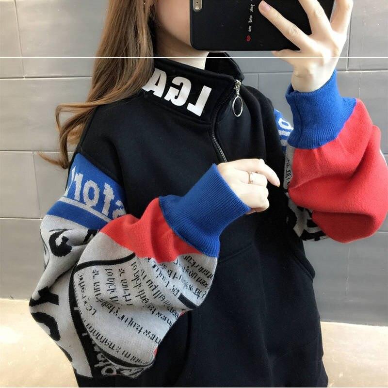 Women Oversize Hoodies Shiny Color Sweatshirt Top Long Sleeve Turtleneck Pullover Sweatshirts Ladies Streetwear