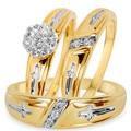 Горячая Распродажа, модный новый золотой цвет, комплект из трех предметов с изысканным цирконием, парные кольца