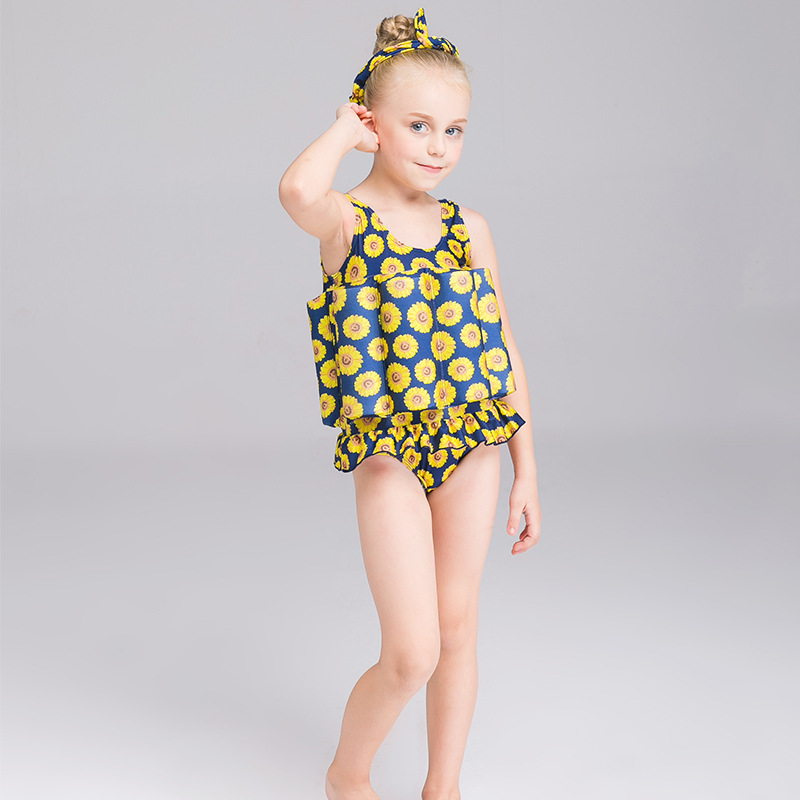 Buoyancy BABY'S Swimsuit GIRL'S One-piece Swimming Suit Korean-style Little Daisy Floating Bathing Suit Swimming Kids