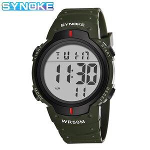 SYNOKE-reloj de pulsera electrónico para hombre, reloj masculino de pulsera con alarma, resistente al agua, fácil de leer, gran número, con luz nocturna, deportivo
