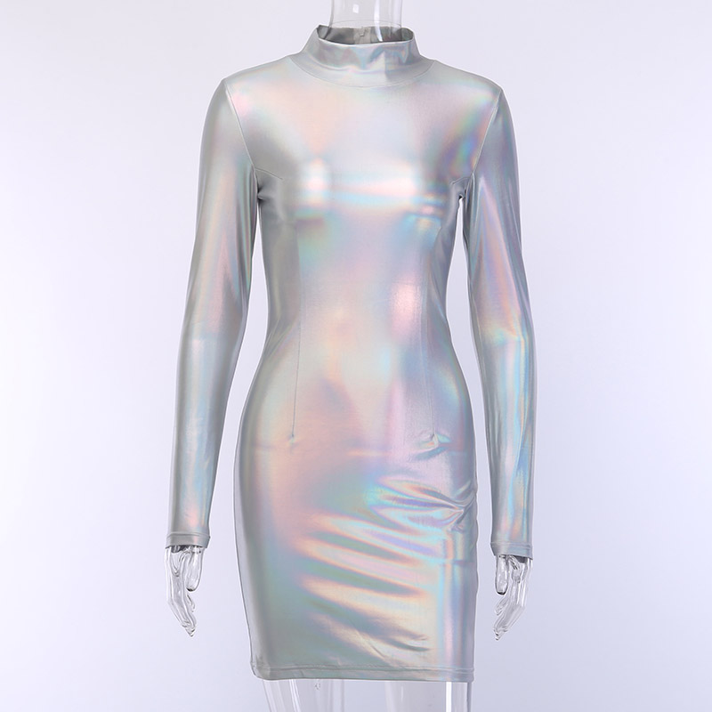 WannaThis Shiny Dresses Women Purple Mock Neck Long Sleeve Slim Fashion Club Reflective Skinny Bodycon Autumn Party Mini Dresses in Dresses from Women 39 s Clothing