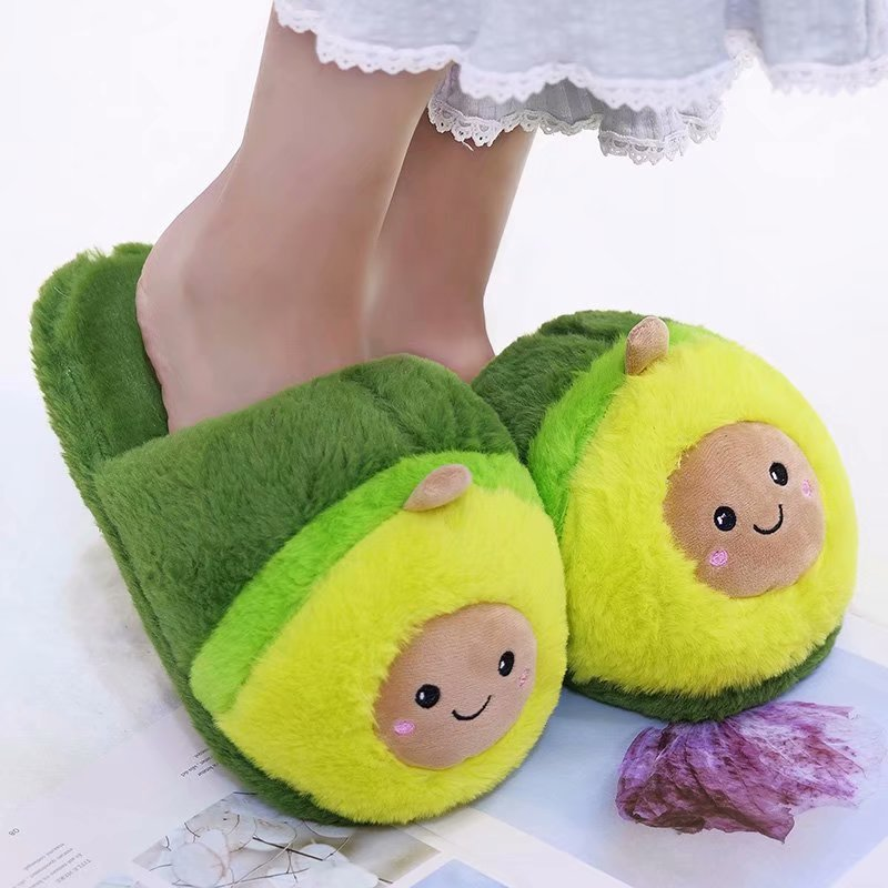 Millffy Cute Women Flip Flop Avocado Slippers Shape Home Floor Soft Stripe Slippers Female Shoes Girls Winter Spring Warm Shoes