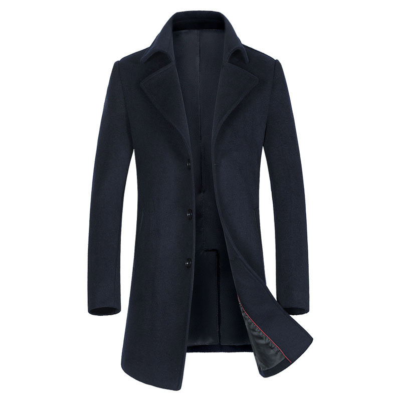 New Men's Long Section Trench Coat Fashion Business Casual Male Turn Down Collar Wool Coat Mens Overcoat Grey Dark Navy