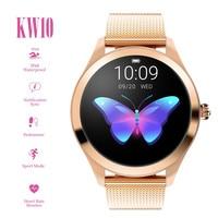 KW10 Sports IP68 Waterproof Smart Watch Women Smart Bracelet Band Heart Rate Monitor Fitness Tracker Smartwatch Metal Case #D25